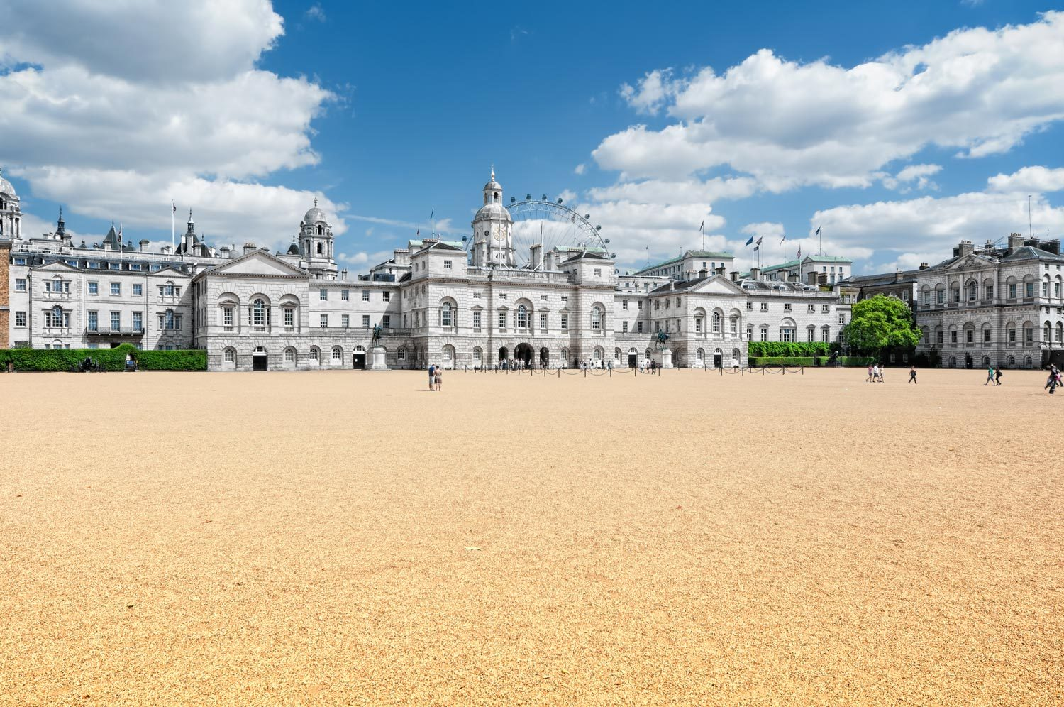 Horse Guards Parade, with the London Eye in the background.