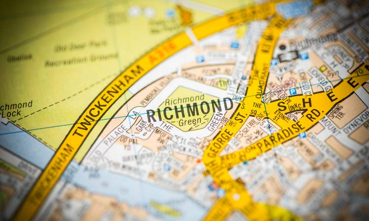Richmond. London, UK map.