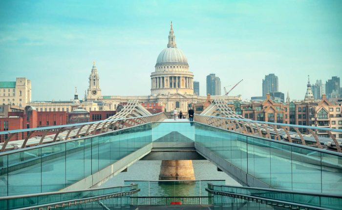 St Pauls Cathedral and Millennium Bridge in London