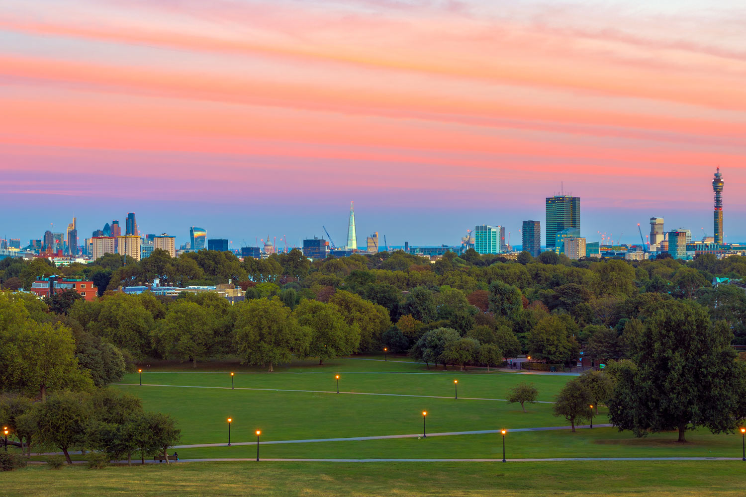 London cityscape seen from Primrose Hill at sunset